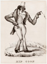'Zip Coon' as played by the white performer, George Washington Dixon (1801-1861)  in blackface. See description for more information.