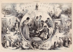 'The Emancipation of the Negroes, January, 1863 - The Past and The Future - Drawn by Mr. Thomas Nast' illustration published in Harper's Weekly (A Journal of Civilization). See description for more in...