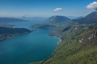 Annecy lake aerial, Haute Savoie , France