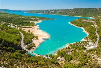 Aerial view of the lake of Sainte Croix in Provence (France)