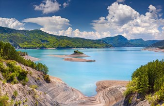 View of lake Serre-Poncon, Alps, France.