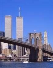 New York Trade Centre (destroyed 2001) and Brooklyn Bridge, Manhattan, New York, New York State, United States of America