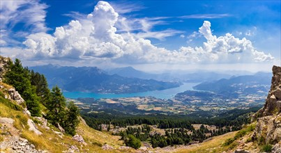 Elevated view of Serre-Poncon lake in summer from the Chabriere Needle. Alps, France