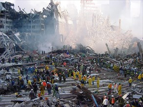 NEW YORK – A view of the pile at ground zero during recovery operations after the 9/11 terror attacks.  Following the attack, New York Governor George Pataki mobilized the entire New York National Gua...