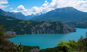Beautiful lac de Serre Poncon in the French alps in France