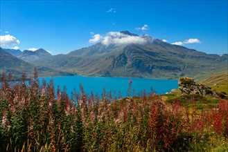 Col de Mont Cenis mountain pass between France and Italy with large lake, reservoir,