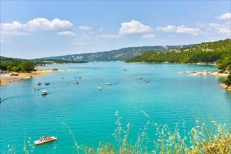 lake of Sainte-Croix, Provence, France, Moustiers-Sainte-Marie, department Alpes-de-Haute-Provence, region Provence-Alpes-Côte d'Azur