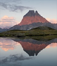 Reflections at sunset of Pic du Midi D'Ossau in the Lac D Ayous