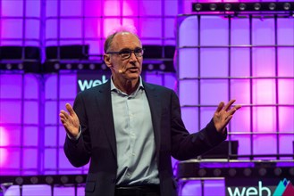 World Wide Web Inventor Tim Berners-Lee is seen addressing to the audience at Altice Arena Centre Stage in Lisbon during the opening ceremony of the Web Summit 2018.  The 10th edition of the Web Summi...
