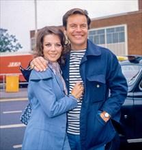 American Actor Robert Wagner and his Natalie Wood leaving Heathrow Airport in May 1976.