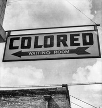 """""""Colored Waiting Room"""" sign from segregationist era United States. 1943"""