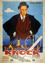 French film poster for 'Dr. Knock' (original title Knock) a French comedy film, from 1951, directed by Guy Lefranc, written by Georges Neveux, and starring by Louis Jouvet. It also features an unaccre...