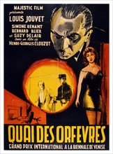 French film poster for the film 'Quai des Orfevres' (also known as Jenny Lamour) 1947 French police drama based on the book Legitime defense by Stanislas-Andre Steeman. Directed by Henri-Georges Clouz...