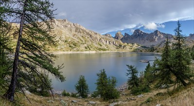 evening view of Allos lake in french alps