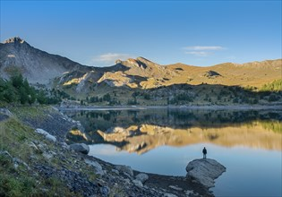 morning view of Allos lake in french alps