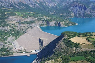 DAM OF LAKE SERRE-PONÇON; A WATER STORAGE FROM THE DURANCE & UBAYE RIVERS (aerial view). In Rousset (right bank) and La Bréole (left bank), France.