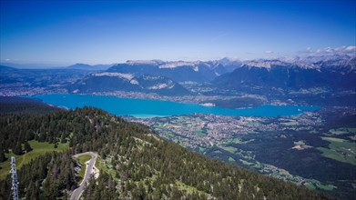 Annecy city, lake and castle from above, in southeastern France