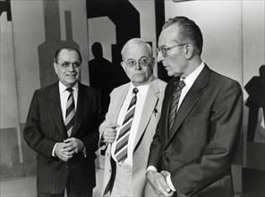 Pierre Bérégovoy, André Bergeron et Yvon Gattaz, 1985