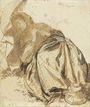 Portrait of Elizabeth Siddal Resting, Holding a Parasol; Dante Gabriel Rossetti, British, 1828 - 1882, about 1852 - 1855; Pen