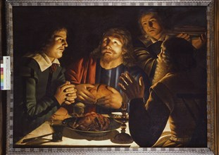 Crijn Hendricksz. Volmarijn, Christ in Emmaus, painting footage oilpaint wood panel, Oil on panel in wooden stained frame signed