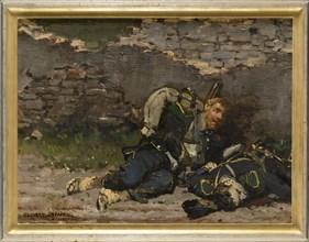 Detaille, Light infantryman hidden behind a wall