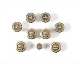 Neuf boutons de vénerie
