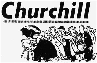Daily Mirror 20th October 1951. Cartoon of Winston Churchill painting while a crowd of people look on.