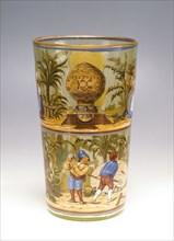 Vase décoré de 3 représentations des premières expériences aérostatiques
