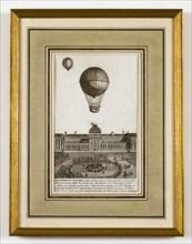 """Expérience du Globe de MM. Charles et Robert faite dans le Jardin des """"Thuilleries"""" le 1er décembre 1783"""