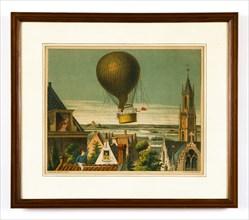 Envol d'une montgolfière au dessus des toits d'Haarlem