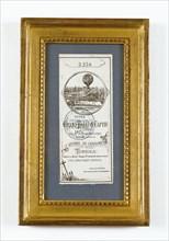 Billet d'accès à l'enceinte du grand ballon captif à vapeur de Mr Henri Giffard dans la cour des Tuileries