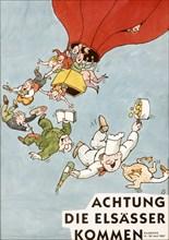 Affiche représentant une montgolfière