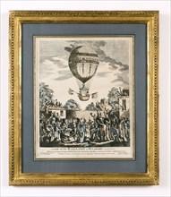 Vue de l'ascension du ballon de Mr Sadler's le 12 août 1811 à Hackney