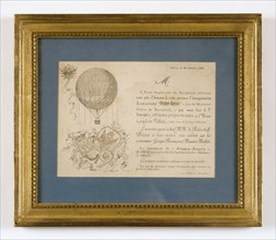 "Invitation card for the launch of the ""France-Russie"" aerostat on 21st October 1891"