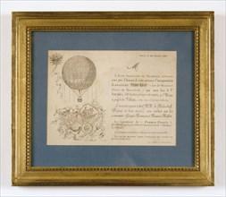 Carton d'invitation pour l'inauguration de l'aérostat France-Russie le 21 octobre 1891