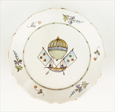 Plate with design of Mr Blanchard's flying vessel
