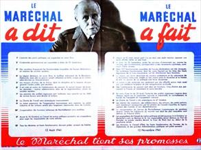 Affiche de propagande du Gouvernement de Vichy. Le Maréchal Pétain.