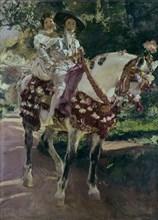 Sorolla, Mes filles Elena et Maria à cheval avec des costumes de Valence de 1808
