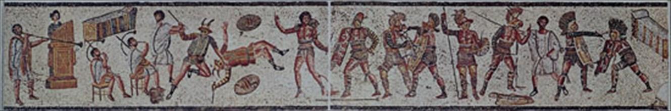 Mosaïque : lutte de gladiateurs
