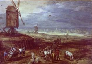 Jan Bruegel, Paysage avec des moulins à vent