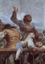 Goya, Détail de la coupole : l'enfant sur la barrière