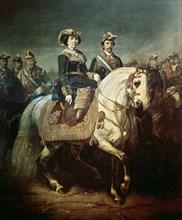Porion, Isabelle II et François d'Assise passant en revue les militaires