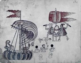 """Codex Azxatitlan - """"Combat entre espagnols et indigènes"""""""
