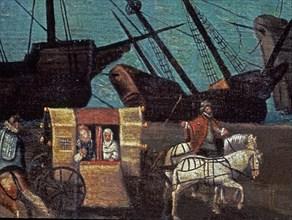 Attribué à Sanchez Coello, Vue de Séville (détail d'un carrosse)