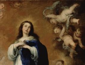 Murillo, L'Immaculée de Soult - Détail de la Vierge avec les anges