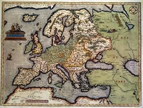 Ortelius, Carte de l'Europe et du nord de l'Afrique