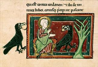 Bible du 13e siècle: Elie et les corbeaux près du torrent de Kérit