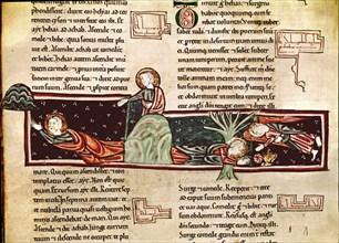 Bible du 13e siècle: Elie nourri par un ange dans le désert