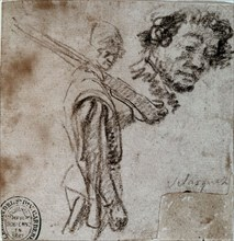 Velázquez, Drawing of a soldier with his weapon on his shoulder and study of a face