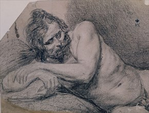 Velázquez, Drawing of a man lying down